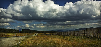 Clouds over the Seminsky pass. stock image