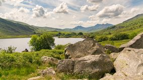 Clouds over Snowdonia. With Llynau Mymbyr and Mount Snowdon in the background, near Capel Curig, Conwy, Wales, UK Royalty Free Stock Photos