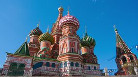Clouds over St. Basil's Cathedral in Moscow,  timelapse stock footage