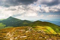 Clouds over summer Carpathian Mountains. Chornogora Ridge Royalty Free Stock Image