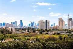Clouds  over Tel Aviv skyline at Sunny Day Royalty Free Stock Photo