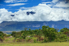 Clouds over Tepui Mountain and the Jungle Stock Image