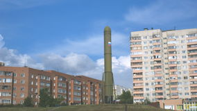 Clouds over topol-m missile stock video