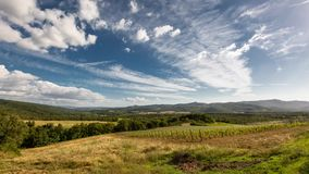 Clouds over Tuscany vinelands. stock video footage