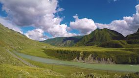 Clouds over the valley of the river Chuya, Altai, Siberia. Russia. stock footage