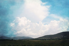 Clouds over vineyards. Royalty Free Stock Photo