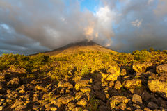 Clouds over the volcanic mountain Royalty Free Stock Photos