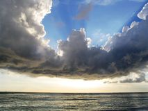Clouds over Waikiki. Cloud formation over the ocean viewed from Waikiki Beach in Hawaii Stock Photos