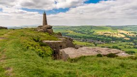 Wainman`s Pinnacle, North Yorkshire, England, UK. Clouds over Wainman`s Pinnacle near Cowling, North Yorkshire, England, UK stock images