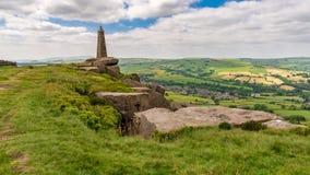 Wainman`s Pinnacle, North Yorkshire, England, UK. Clouds over Wainman`s Pinnacle near Cowling, North Yorkshire, England, UK stock images