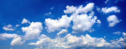 Clouds. Paoramic view with clouds on a blue sky background Royalty Free Stock Image