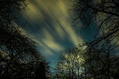 Clouds passing in the moon light by over a forest and on a night sky full of stars Stock Images