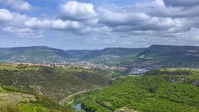 Clouds Passing Over the Valley of River Tarn. Timelapse of clouds passing over the valley of river Tarn in the vicinity of the Viaduct Millau in Midi Pyrenees stock video