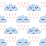 Clouds pattern. Seamless pattern with smiling sleeping clouds and hearts for kids holidays. Cute baby shower vector background. Stock Image
