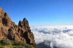 Clouds Pico de las Nieves. View to Pico de las Nieves royalty free stock images