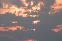 Clouds of Pink. As the sun sinks, clouds are backlight and washed in pink light Stock Image