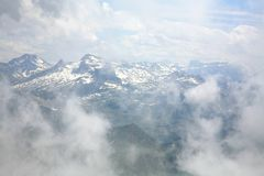 Clouds and pinnacles of French Pyrenees mountains near Royalty Free Stock Photos