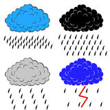 Clouds with precipitation. Vector illustration Stock Photo