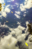 Clouds in a puddle stock photo