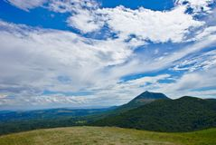 Clouds on the puy de dome. Blue sky and pretty clouds on the puy de dome in auvergne Stock Photography