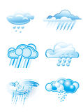 Clouds with rain. In different style Royalty Free Stock Images