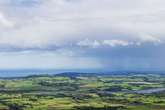 Clouds and rain above the country Stock Photography