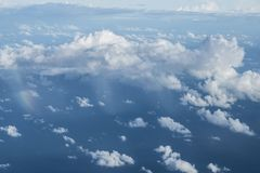 Clouds and rain above the South China Sea. stock image
