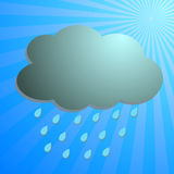 Clouds and rain drop with blue rays Royalty Free Stock Image