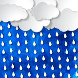 Clouds with rain drops on the Abstract blue geometric background. With triangular polygons stock illustration