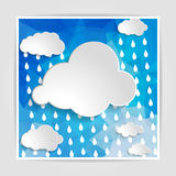 Clouds with rain drops on the Abstract blue geometric background. With triangular polygons vector illustration