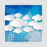 Clouds with rain drops on the Abstract blue geometric background Stock Photos