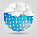 Clouds with rain drops on the Abstract blue geometric circular s. Hape with triangular faces for graphic design royalty free illustration