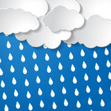 Clouds with rain drops. On a blue background royalty free illustration