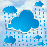 Clouds with rain drops on a  light blue background Stock Image
