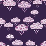 Clouds and rain drops seamless pattern. Textile rapport royalty free illustration