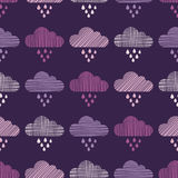 Clouds and rain drops seamless pattern. Strokes texture. Textile rapport vector illustration