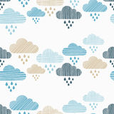 Clouds and rain drops seamless pattern. Strokes texture. Textile rapport stock illustration