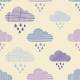 Clouds and rain drops seamless pattern. Strokes texture. Textile rapport royalty free illustration