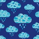 Clouds and rain drops seamless pattern. Textile rapport vector illustration