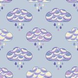Clouds and rain drops seamless pattern. Textile rapport stock illustration