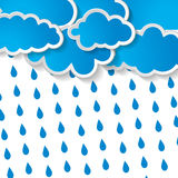 Clouds with rain drops on a white background. Blue clouds with rain drops on a white background vector illustration