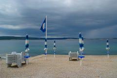 Clouds, Rain, Empty Beach Stock Photo