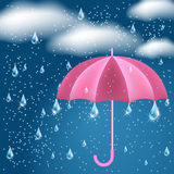 Clouds with rain and opened umbrella. Clouds with rain in the dark blue sky and opened umbrella royalty free illustration