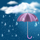 Clouds with rain and opened umbrella. Clouds with rain in the dark blue sky and opened umbrella stock illustration