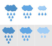 Clouds and rain. Set of icons for rain. Vector illustration for Royalty Free Stock Photo