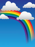 Clouds and Rainbow. Colorful illustration of clouds with a rainbow Royalty Free Stock Image