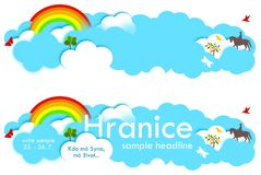 Clouds and rainbow for headline stock illustration