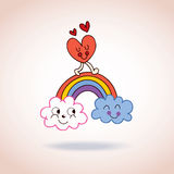 Clouds rainbow and heart cute characters illustration Royalty Free Stock Photography
