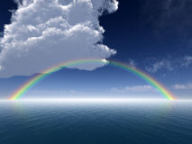 Clouds and Rainbow Over Sea stock illustration