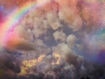 Clouds, rainbow and stars, photographed at Golden Gate, South Africa